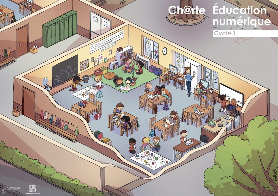 Poster 1-4P mettant en scène les illustrations de la charte d'éducation numérique.