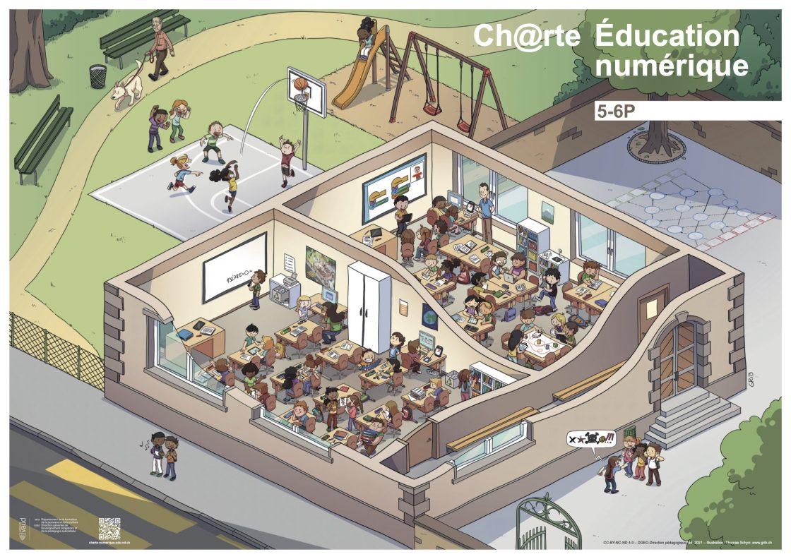 Poster 5-6P mettant en scène les illustrations de la charte d'éducation numérique.